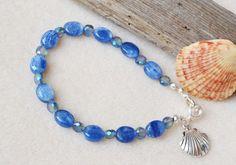 Kyanite bracelet sea shell charm gemstone by MontanaAnniesJewelry