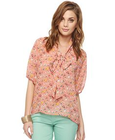 Forever 21 Floral collar top