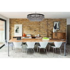 Find Charming Dining Room Design Ideas With Exposed Brick Wall To Impress Your Guests Dining Room Wall Decor, Dining Room Sets, Dining Room Design, Dining Room Table, Dining Area, Kitchen Decor, Basement Kitchen, Dining Room Feature Wall, Kitchen Brick