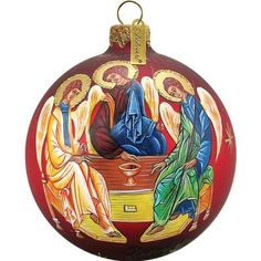 G Debrekht Hand Painted Ornament Christ Child And Angel