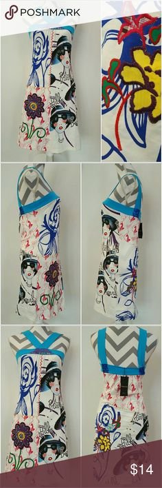"""GRAPHIC ART Urban Chic DRESS NWT PRICE FIRM  Brand new W/tag """"Art isn't always hung, it's also worn"""" dress. The dress has graphic art print design one of the hottest trends for S/S 2018! Cool blue trim detail. True to size for the style. Embroidting and color details.   As seen in pics Size small Bust seam to seam approx 14"""" From the blue band around bust to bottom of dress the length is approx 26""""  100%cotton    Coachella graphic art artsy urban chic boho . Dresses"""