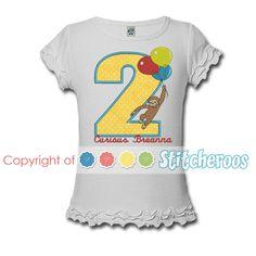 Curious George Balloons Birthday Onesie or Shirt