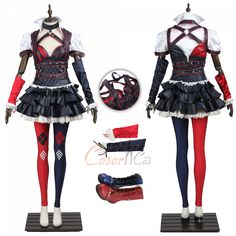 Item Number:gmark004, Harley Quinn Costume Batman: Arkham Knight Cosplay Full Set online sale! Get cheap D-C and Mar-vel costumes from cosercos.com