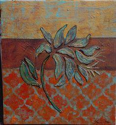 floral painting, turquoise, gold bronze stencil, textured painting, original art bu Kara Michael freeman