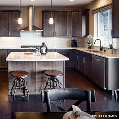 High sheen surfaces and mixed wood and metal are hallmarks of trendy industrial glam design. Industrial Interiors, Industrial Style, Pulte Homes, Inspired Homes, Wood And Metal, Interior Inspiration, Design Trends, House Design, House Styles