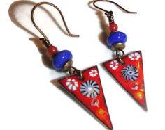 Enameled Copper  Red Earrings Colorful Earrings Enamel Dangle Drop Earrings Lampwork Bead Artisan Boho by riversedgecreations. Explore more products on http://riversedgecreations.etsy.com