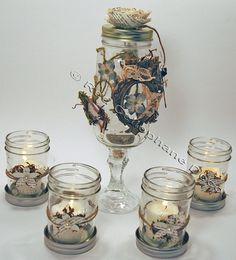 Shabby Chic Wedding Centerpiece, DIY Wedding Decor, Rustic Wedding Decor, Mason Jar Candleholders via Etsy