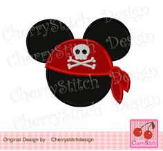 Pirate,Mouse Ears, Mickey Mouse,Mickey Embroidery Design -for 4x4 5x7 6x10 hoop-Machine Embroidery Applique Design by CherryStitchDesign on Etsy