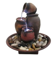 The Alpine Cascading Four Jars Tabletop Fountain captures the beauty of happenstance and infuses that simple treasure into your everyday decor. Patio Fountain, Garden Water Fountains, Tabletop Fountain, Indoor Fountain, Water Garden, Small Water Fountain, Fountains For Sale, Red Home Decor, Jars