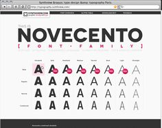 Novecento » type design of the custom font Novecento and related internet site