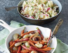 Receta de verduras glaseadas y ensalada de patata