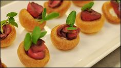Miniature Yorkshire Pudding with Roast Fillet of Beef and Horseradish Mousse