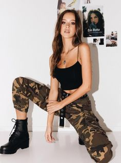 Princess Polly is Australia's best online fashion boutique. Cute Camo Outfits, Punk Outfits, Tomboy Outfits, Girl Outfits, Summer Outfits, Military Inspired Fashion, Military Fashion, Army Girl Halloween Costume, Girl Bottoms