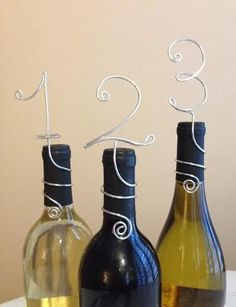 Wine Bottle Number Wraps for Table Decor  Wedding by lovedainty, $5.00