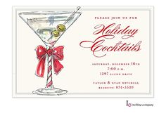 Christmas Cocktail Party Invitations martini