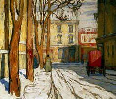 "lawren harris - ""toronto street, winter morning"", c.1920, oil on canvas."