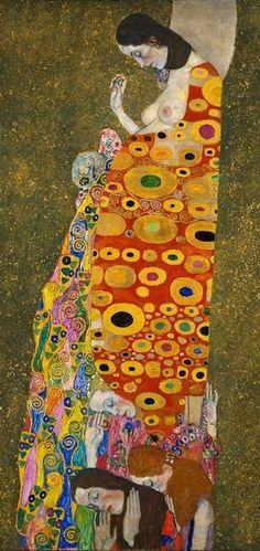 Gustav Klimt, Hope II. Oil, gold, and platinum on canvas 1908