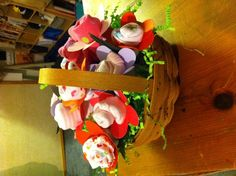 Onesies bouquet - in a Longaberger basket, of course!