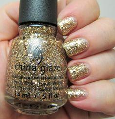 China Glaze - Counting Carats Gold metallic and holographic glitter polish