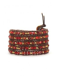 Delicate and Glittering Red Fire Agate Wrap Bracelet on Brown Leather for Halloween Gift