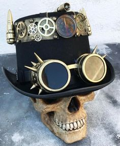 Steampunk Hand made Black Satin Top Hat with metal keyhole decoration Steampunk Top Hat, Steampunk Gears, Steampunk Makeup, Steampunk Drawing, Steampunk Artwork, Steampunk Gadgets, Steampunk Crafts, Steampunk Goggles, Steampunk Costume