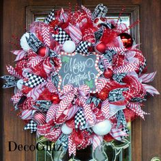 Red Black and White Mesh Christmas Wreath with MERRY by decoglitz
