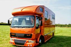 A post in answer to a question here.  Sorry, I don't have a Helios horsebox to show sprayed in the vivid pearl orange. This colour in the pictures is a lovely metallic burnt orange, but it's still a striking colour. We have just started a top of the range Helios with raised floor and all the bells and whistles and the paint is going to be the vivid three stage metallic pearl with gold metal flakes in the lacquer. I will post images here as soon as it's sprayed. We are very excited!
