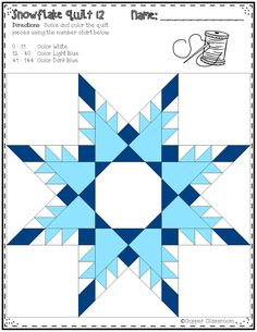 Free Snowflake Quilt Color by Code for Multiplication Facts up to 12 x 12 Barn Quilt Designs, Barn Quilt Patterns, Paper Piecing Patterns, Quilting Designs, Pattern Blocks, Star Quilt Blocks, Star Quilts, Snowflake Quilt, Winter Quilts