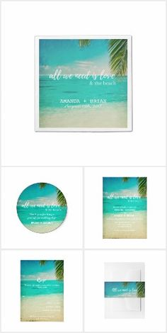 "Love and the Beach Wedding Invitation Collection Wedding products perfect for your beach or tropical destination wedding! Turquoise water, white sand and palm tree ""All we need is love and the beach"" design wedding collection. This collection includes beach wedding invitations, rsvp card, thank you card, napkins, favor stickers + more."