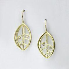 BARBARA HEINRICH Earrings 18K Yellow Open Wire Leaf Earrings With 6 Diamonds, 0.06 ctw, 12 mm x 20 mm