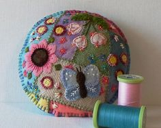 Handmade Summer Butterfly Felted Wool Embroidered Crazy Patch Pincushion