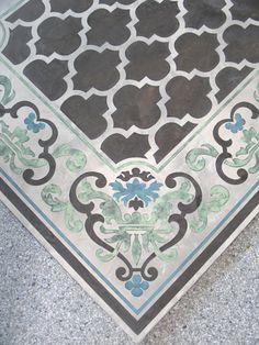 Using Modello® Designs Masking Stencils and Skimstone to create a beautiful concrete floor panel. Royal Design Studio