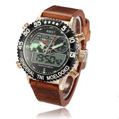 Sale 14% (15.99$) - AMST 3004 Gold Case Canvas Band Digital Waterproof Sport Watch