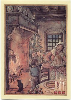 """Christmas"" - Illustration by Anton Pieck (Dutch, 1895-1987)"