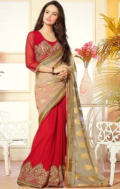 USD 67.59 Beige Jacquard Half and Half Party Wear Saree 44521