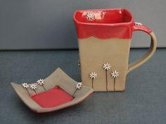 MO KERAMIK - Tassen & Mehr, Orginelle Tasse mit Teller für Teebeutel, Handarbeit, Unikat