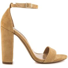Steve Madden Women's Carrson - Sand Suede ($90) ❤ liked on Polyvore featuring shoes, beige, high heel shoes, block high heel shoes, suede leather shoes, beige shoes and sand shoes