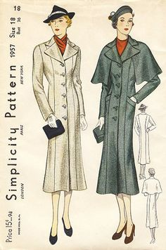 Long, graceful lines make this pair of 1930s overcoats especially lovely.
