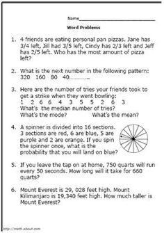 Test Your 5th Grader with These Math Word Problems: Worksheet #  2
