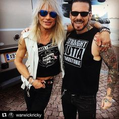 No one better to hang with whilst in #Finland 🇫🇮, Mr. #MichaelMonroe! And thanks to all who came out to see us today!!  .  .  .  #HEAVYFIRETOUR #BLACKSTARRIDERS ✯