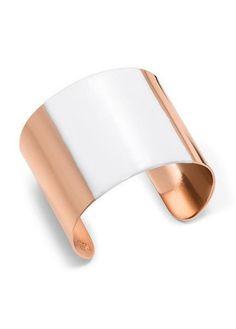 Tory Burch Stripe Wide Metal Cuff