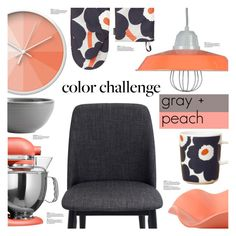 """Gray + Peach Color Challenge"" by chakragoddess ❤ liked on Polyvore featuring interior, interiors, interior design, home, home decor, interior decorating, Dot & Bo, ANP Lighting, KitchenAid and Pottery Barn"