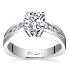 Barkev's 14K White Gold Round Cut Channel Set Diamond Engagement Ring Featuring 0.28 Carats Round Cut Diamonds . Style 7541L