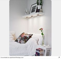 Planning a small bedroom design can be a challenge, but with right & clever bedroom storage ideas and the right bedroom color scheme it can be turned from tiny space to a beautiful room. Decorating small bedrooms, every square inch… Continue Reading → Small Apartments, Small Spaces, Rental Apartments, Modern Spaces, Home Bedroom, Bedroom Decor, Master Bedroom, Bedroom Lighting, Warm Bedroom
