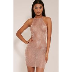 Charlay Sheer Bronze Metallic Knitted Halterneck Dress (230 NOK) ❤ liked on Polyvore featuring dresses, brown, sheer mini dress, sexy halter dress, brown cocktail dress, halter tops and sexy sheer dress