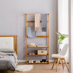 Buy Bamboo Clothing Garment Rack with Shelves Clothes Drying Hanging Rack at Wish - Shopping Made Fun Shoe Storage Shelving, Storage Rack, Coat And Shoe Rack, Clothes Stand, Clothes Racks, Closet Rod, Garment Racks, Hanging Racks, Wardrobe Rack