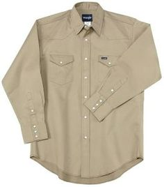 Work Shirt - Wrangler® Khaki Twill Long Sleeve Big & Tall Workshirt