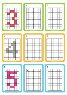 maths-deplacement-dans-un-quadrillage-reproduire-les-chiffres-2 Preschool Learning Activities, Kindergarten Math, Teaching Math, Coding For Kids, Math For Kids, Free Printable Puzzles, Pix Art, Computer Basics, Preschool Worksheets