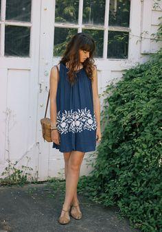 Embroidered Dress, Sandals, Vintage Bag