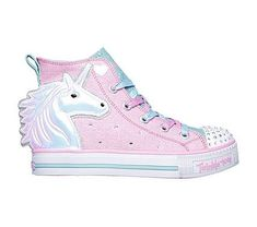 Skechers Twinkle Toes Twinkle Lite Unicorn Friends Girls' Light Up High Top Shoes Cute Shoes For Kids, Cute Girl Shoes, Cute Outfits For Kids, Girls Shoes, Little Girl Fashion, Baby Boy Fashion, Unicorn Fashion, Unicorn Outfit, School Shoes